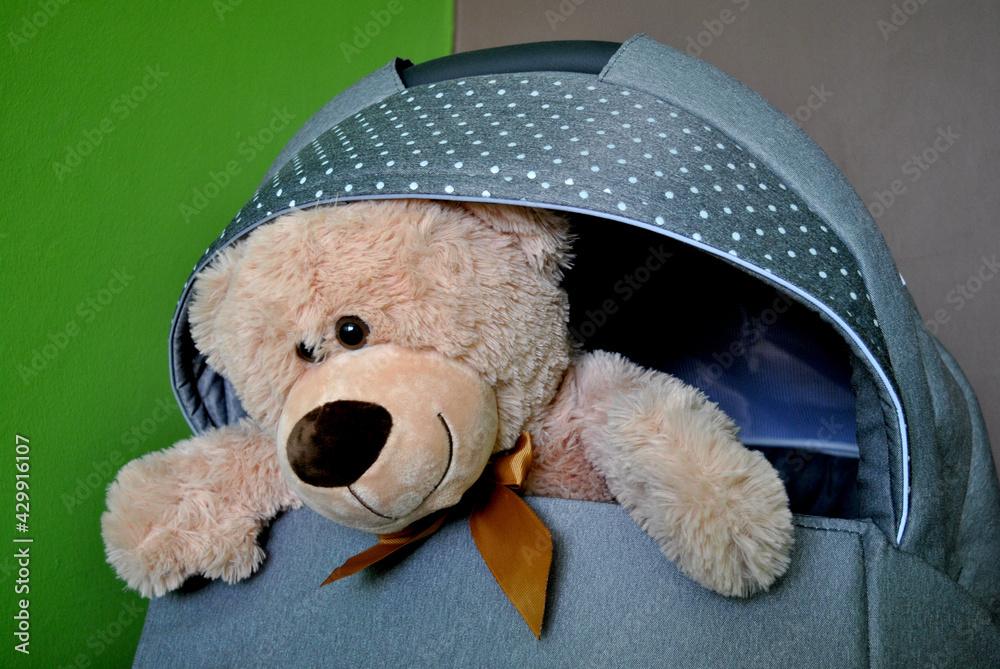 Fototapeta Zdjęcie przedstawiające maskotkę pluszowego misia w dziecięcym wózku