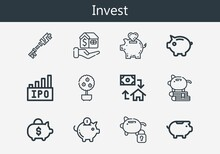 Premium Set Of Invest Line Icons. Simple Invest Icon Pack. Stroke Vector Illustration On A White Background. Modern Outline Style Icons Collection Of Money Tree, Mortgage, Piggy Bank, Ipo