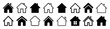 House set icon, collection home sign, real estate, flat style houses in outline and line design - vector