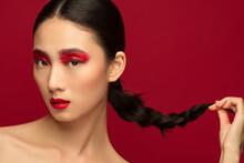 Red Eye Shadow Colour Makeup Beauty Portrait