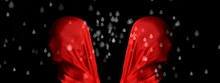 3d Illustration. Two Mannequin Heads With Large Red Silk Scarf, One Back To The Other, Simulated Raindrops, Black Background.