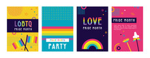 LGBT Pride Month In June Posters And Web Templates. Lesbian Gay Bisexual Transgender. Celebrated Annual Pride Month. LGBT Flags, Rainbow And Love Concept. Human Rights And Tolerance. Poster, Card, Ban