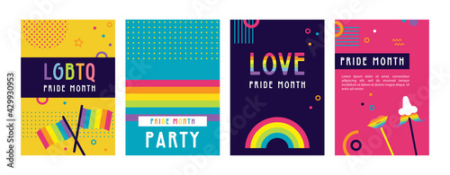 LGBT Pride Month in June posters and web templates. Lesbian Gay Bisexual Transgender. Celebrated annual pride month. LGBT flags, Rainbow and love concept. Human rights and tolerance. Poster, card, ban - fototapety na wymiar