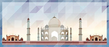 Taj Mahal In Agra Vector Colorful Poster On Beautiful Triangular Texture Background