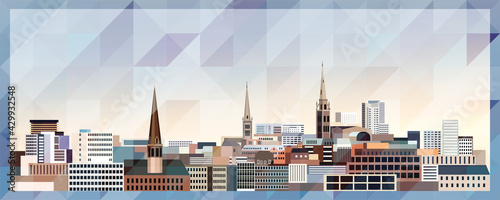 Coventry skyline vector colorful poster on beautiful triangular texture background - fototapety na wymiar