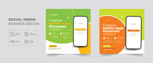 Creative Mobile Apps Promotion Social Media Post And Web Banner Template, Corporate Business Advertisement Cover Banner Design Layout
