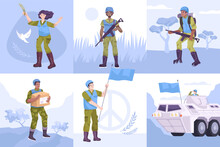 Flat Peacekeepers Composition Icon Set