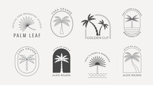 Bohemian Linear Logos With Palms, Beach, Ocean Landscapes, Icons And Symbols, Sun Design Templates, Terracotta Geometric Abstract Design Elements For Decoration.