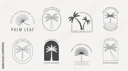 Bohemian linear logos with palms, beach, ocean landscapes, icons and symbols, sun design templates, terracotta geometric abstract design elements for decoration.  - fototapety na wymiar
