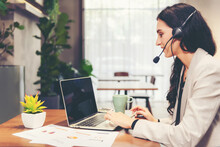 Call Center And Customer Service Team Support For Information Operator At Work. People Woman Employee Consultant And Talking On Hands Free Phone For Help And Service Customer.