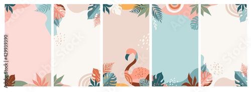 Fototapeta Bohemian Summer, set of modern summer story template designs with rainbow, flamingo, pineapple, ice cream and watermelon  obraz