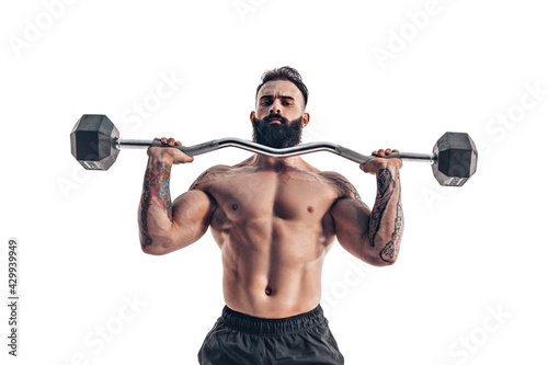 Obraz na plátně Muscular bodybuilder guy doing exercises with dumbbell over whit