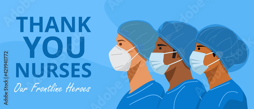 International Nurses Day, Illustration of nurses with face masks and protective caps. Vector - fototapety na wymiar