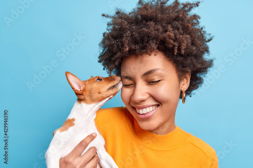 Friend of family. Close up shot of happy curly haired woman plays with dog expresses positive emotions likes animals. Small pedigree puppy licks face of owner. Adopted pet. Tender sincere feelings - fototapety na wymiar