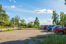 Beautiful Landscape View Of Cars On Parking Place . Sweden.
