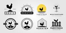 Set Rooster Chicken Livestock Logo. Weathervane, Chick, Farm Logo Vector Illustration Design