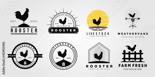 Canvastavla set rooster chicken livestock logo