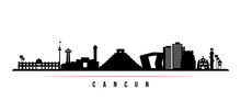 Cancun Skyline Horizontal Banner. Black And White Silhouette Of Cancun, Mexico. Vector Template For Your Design.
