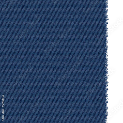 Canvas Print Blue classic jeans denim texture with a ragged edge
