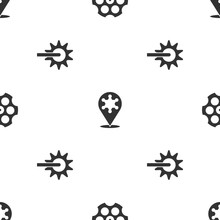 Set Revolver Cylinder, Hexagram Sheriff And Spur On Seamless Pattern. Vector