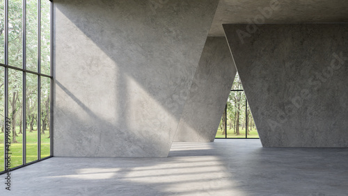 Modern loft style empty space interior 3d render,There are polished concrete floor ,wall and ceiling,There are large window look out to see the nature view,sunlight shining into the room.