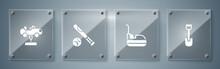 Set Shovel Toy, Bumper Car, Baseball Bat With Ball And Swing. Square Glass Panels. Vector