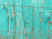 Background Of Blue Dilapidated Wooden Boards With Fallen Paint