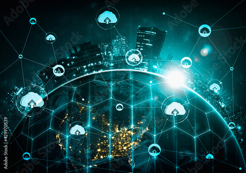 Fototapeta Cloud computing technology and online data storage in innovative perception . Cloud server data storage for global business network concept. Internet server service connection for cloud data transfer. obraz