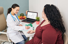 Obesity, Unhealthy Weight. Nutritionist Calculating Body Mass Index Of Fat Woman For Obesity Treatment