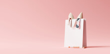 Fashion Accessories Bag, High Heels, Lipstick In Bag Shopping On Pastel Pink Background. 3d Rendering