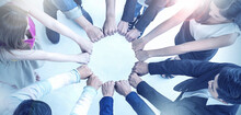Multicultural Hands Synergy Brainstorm Business Man Woman In Circle Top View Background. Support Helping Teamwork Together International Diversity Race Ethnicity Harmony Education People Banner