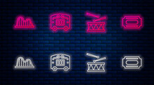 Set Line Circus Wagon, Drum With Drum Sticks, Roller Coaster And Ticket. Glowing Neon Icon On Brick Wall. Vector