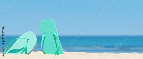 Obraz Summer beach concept, flip-flops on on sand, sea and sky background. 3d rendering - fototapety do salonu