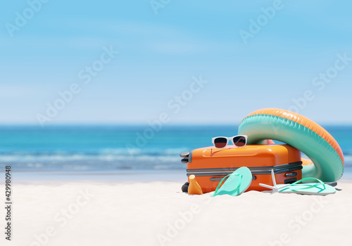 Orange suitcase with beach accessories on sand, sea and sky background. summer travel concept. 3d rendering