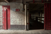 Brick Wall Inside Abandoned Industrial Factory