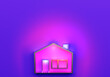 Leinwandbild Motiv Schematic house layout is illuminated with pink light. Real estate concept in neon color. Abstract house is located at the bottom of the picture. 3d building in the center next to the place for text.