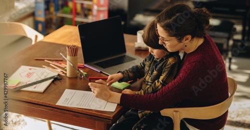 Obraz na plátně Mother homeschooling her son
