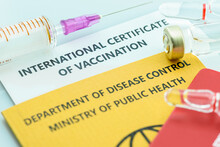 Top View Of International Certificate Of Vaccination, A Record Proving A Traveler Or Someone Has Received Certain Vaccines. A Document Attesting That Its Bearer Is Immune To A Contagious Disease.