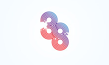 Abstract 38 Number Logo, Number 38 Monogram Line Style, Usable For Anniversary, Business And Tech Logos, Flat Design Logo Template, Vector Illustration