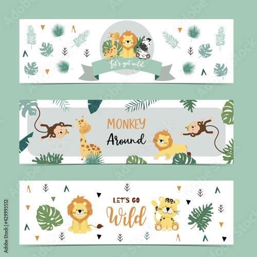 Fototapeta premium Set of cute safari with giraffe, zebra,monkey.Vector illustration for baby invitation, kid birthday invitation,banner and postcard