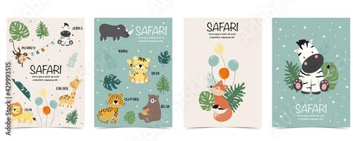 Naklejka premium Set of cute safari with giraffe, zebra,monkey.Vector illustration for baby invitation, kid birthday invitation,banner and postcard