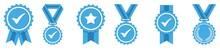 Blue Approval Icon Set, Certified Medal Symbol, Approved Quality Sign, Vector Illustration
