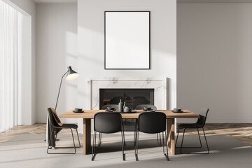 Light dining room interior with fireplace and minimalist furniture, mockup poster
