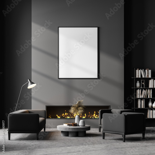 Living room interior with white empty poster on grey wall