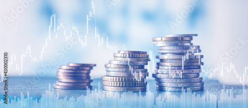 Foto Investment, Stock market  trading graph and candlestick chart suitable for financial investment concept