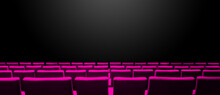 Cinema Movie Theatre With Pink Seats Rows And A Black Background. Horizontal Banner