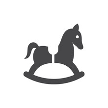Rocking Toy Horse Black Vector Icon. Wooden Kids Horse Symbol.