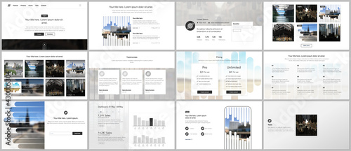 Vector templates for website design, presentations, portfolio. Templates for presentation slides, flyer, leaflet, brochure, report. Background template with lines, photo place for business design. - fototapety na wymiar