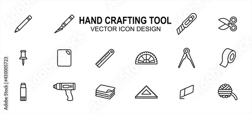 Obraz Simple Set of creativity hand crafting tools Related Vector icon user interface graphic design. Contains such Icons as pencil, blade pen, scissor, pin, ruler, board, tape, glue gun, yarn, paper - fototapety do salonu