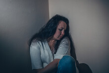 Young Woman Suffering From A Severe Depression Or Anxiety Disorder, Distres And Anguish Concept